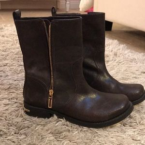 TORY BURCH BROWN MOTO BOOT W/ GOLD DETAILING